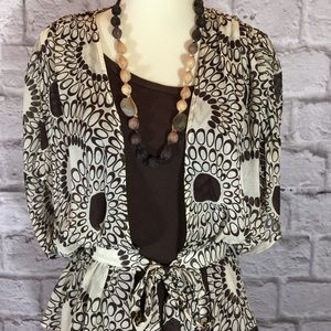 Trina Turk 100% silk blouse brown and white size S
